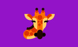 Isolated giraffe icon in modern flat style, with simple geometric shapes only