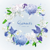 Blue summer flowers wreath