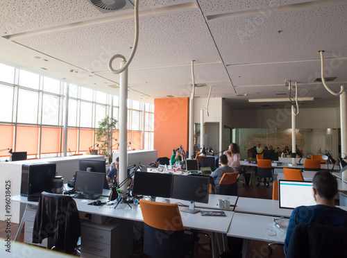 busy coworking office space