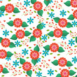 spring flowers natural season pattern vector illustration