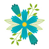 blue decorative flower spring season vector illustration