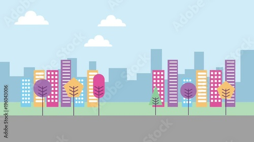 Poster landscape urban buildings skyscrapers trees road animation