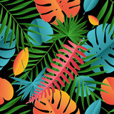 Paper palm, monstera leaves seamless pattern. Summer tropical leaf. Paper cut style. Origami exotic hawaiian jungle, summertime background