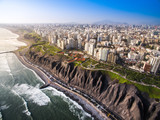 LIMA, PERU: Panoramic view of Lima from Miraflores. - 196043694