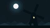 Cartoon silhouette of a windmill at full moon night, loopable cartoon animation - 196044417