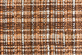 Brown fabric background, textile texture, woven pattern in retro design