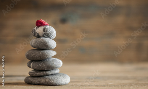 Foto op Canvas Spa zen stones on wooden vintage table