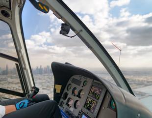 Aerial city skyline from helicopter, Dubai - United Arab Emirates