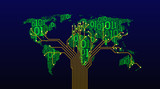 Abstract world map from a digital binary code on a dark background, a connection between cities in the form of a printed circuit board of a tree structure, well-organized layers