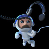 3d Funny cartoon spaceman astronaut chasing a pair of headphones in space - 196055813