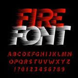 Fire alphabet font. Eeffect type letters and numbers on black background. Stock vector typeface. Easy color change. - 196057046