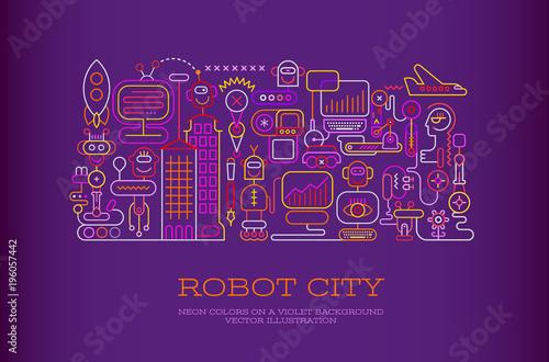 Foto op Canvas Abstractie Art Robot City