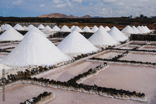 Fotobehang Canarische Eilanden Salt works of Janubio in Lanzarote, Canary Islands, Spain