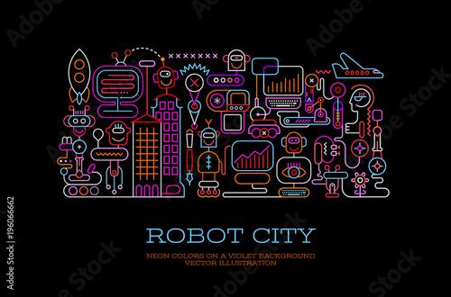 Foto op Canvas Abstractie Art Robot City conceptual vector illustration