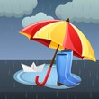 Rainy Happy Monsoon illustration with umbrellas and waterprof boots and paper boat.Vector design