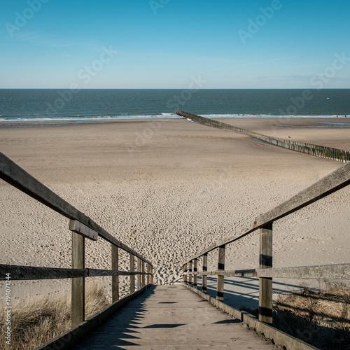 Fotobehang Noordzee Beach of Domburg as seen from the sand dunes