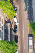 City traffic aerial overhead view