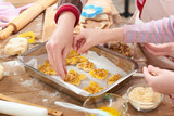 raw cookies in baking tray, sweet food concept - 196071681