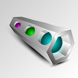 3d rectangle in perspective with multi colored spheres inside