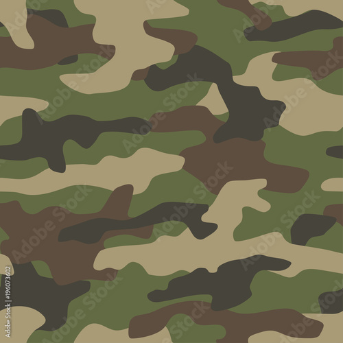 Camouflage seamless pattern. Classic style masking camo repeat print. Vector illustration. © faber14