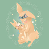 Cute mother bunny with little rabbit in flowers, floral wreath, bouquet