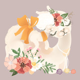 Cute llama, alpaca mother in flowers, floral wreath, bouquet and tied bow with her little baby llama