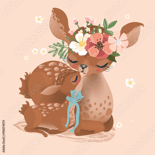 Fototapeta Cute deer mother in flowers, floral wreath, bouquet and tied bow with her little baby deer, fawn