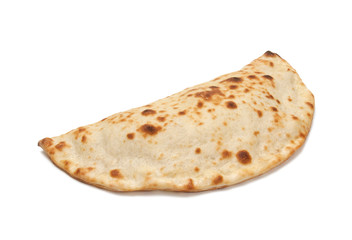 Pizza calzone on a white background