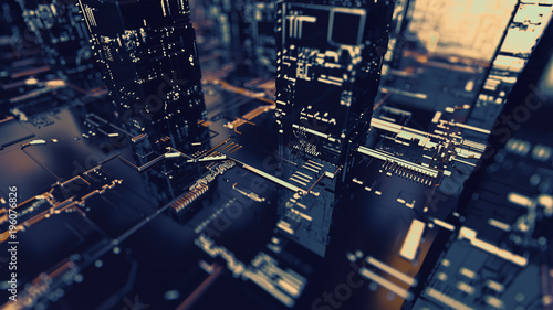 Abstract 3d circuit city concept of connection. Digital skyscrappers. - 196076826