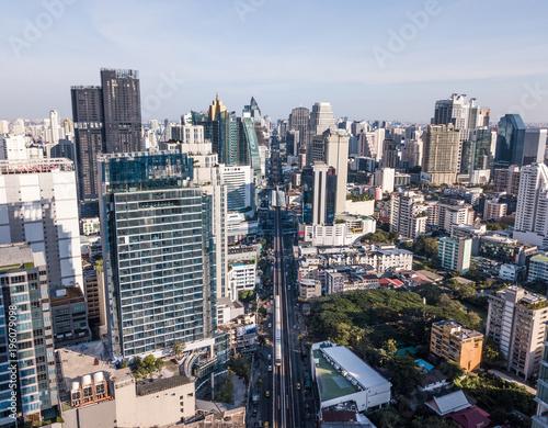 Foto op Canvas Bangkok Aerial view of Bangkok. BTS Skytrain.