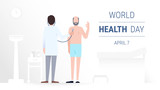 Doctor and patient. World health day concept. A process of medical check up, using a stethoscope. Healthcare, medical insurance and diagnostics of a diseases. Vector flat illustration
