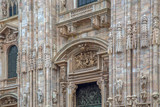 Part of facade with details of the Milan Cathedral - 196083871