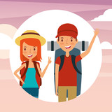 people travelers vacations with backpacks vector illustration - 196088005