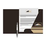 corporate identity mock up stationery folder document and pen vector illustration - 196089675