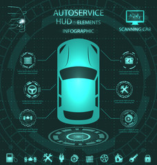 Scanning Car, Analysis and Diagnostics Vehicle, HUD Elements, Service Infographics with Icons