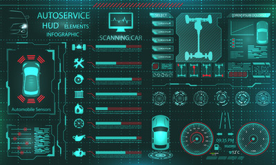 Scanning Car, Analysis and Diagnostics Vehicle, HUD UI Elements, Selection of Car Parts