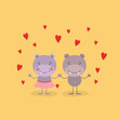 color background with couple of hippos holding hands in love vector illustration