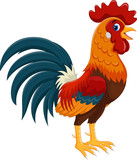 Happy rooster cartoon isolated on white background