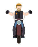 biker in the classic motorcycle character vector illustration design