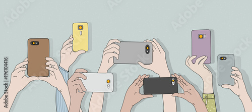 Illustration of hands holding cameras and taking photo - 196104416