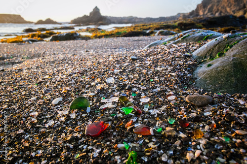 Foto op Canvas Zwart Glass Beach