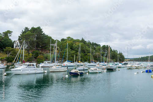 Harbor dock with speedboat sailboats skiff ships on a grey day Poster