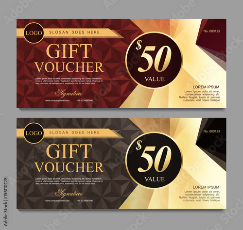 Voucher Template With Red And Gray Certificate Background Design