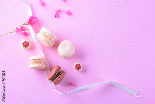 Fotobehang Macarons Colorful macarons or macaroons dessert sweet beautiful to eat