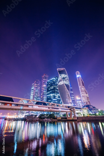 Fotobehang Violet Night Moscow with reflections in the water