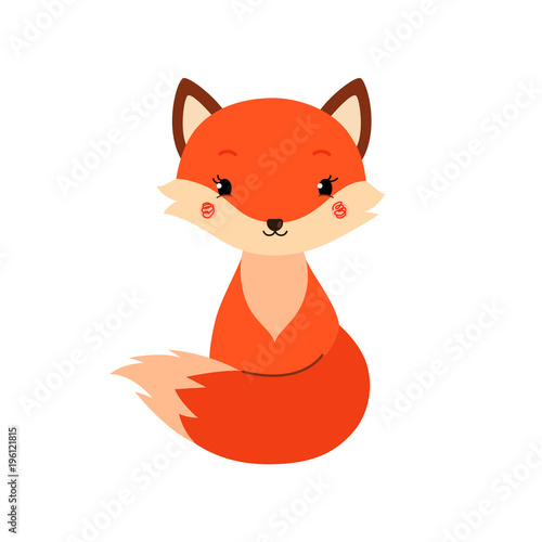 Fototapeta Cute cartoon fox in modern simple flat style.