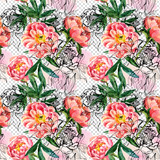 Watercolor and sketch peonies seamless pattern - 196122090