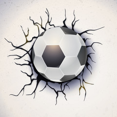 Football ball on the background of a broken-down wall with cracked plaster. Soccer ball damaged the wall with texture, 3D illustration. Poster for sport events, tournament, championships