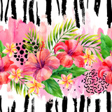 Hand painted artwork: watercolor tropical leaves and flowers on brush strokes background. - 196125088