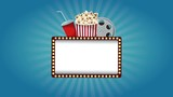 Blank cinema sign with lights on and off High definition animation colorful scenes - 196128224